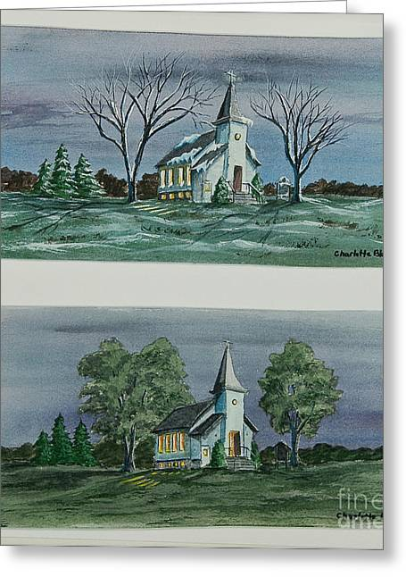 Snow Scene Landscape Greeting Cards - Evening Worship In Winter and Summer Greeting Card by Charlotte Blanchard