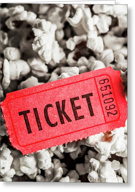 Event Ticket Lying On Pile Of Popcorn Greeting Card by Jorgo Photography - Wall Art Gallery