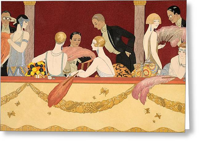 1920s Drawings Greeting Cards - Eventails Greeting Card by Georges Barbier