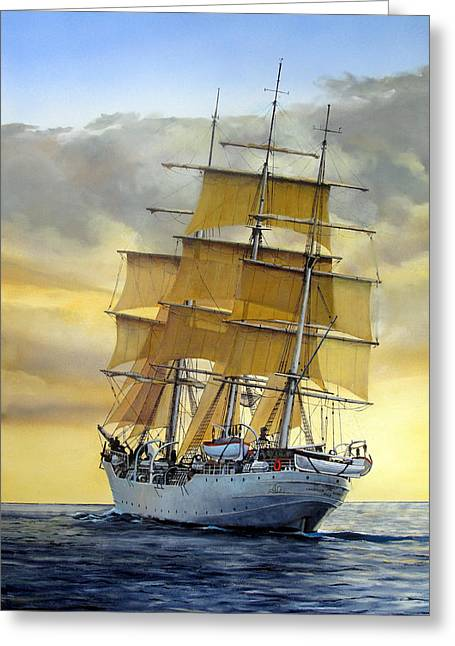 Sailing Ship Greeting Cards - Eventide Greeting Card by Tim Johnson
