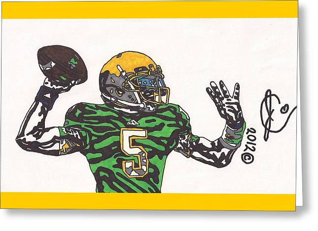 Universities Drawings Greeting Cards - Everett Golson 1 Greeting Card by Jeremiah Colley