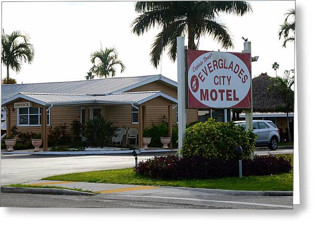 Everglades City Motel Sign Greeting Card by David Lee Thompson