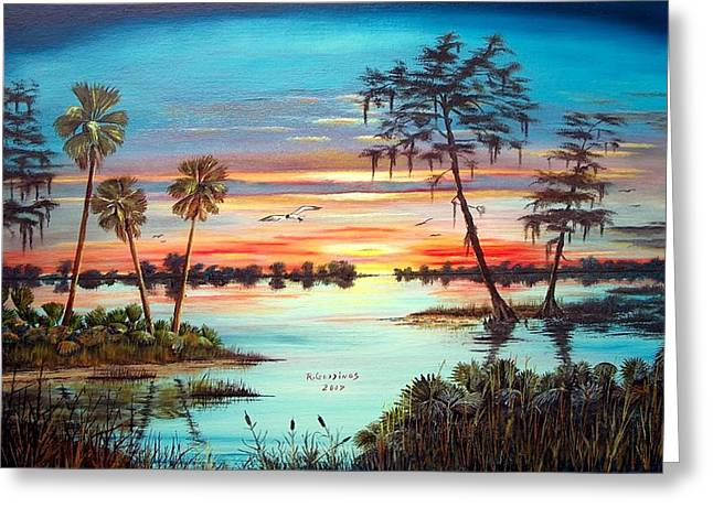 Everglades Sunset Greeting Card by Riley Geddings