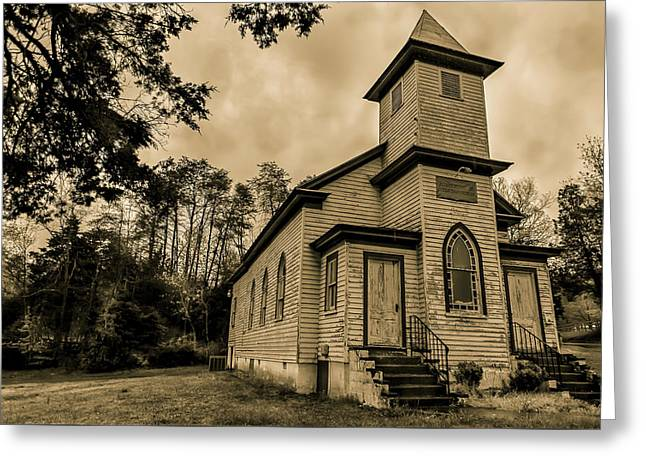 Evergreen Baptist Church In Sepia Greeting Card by Jeremy Clinard