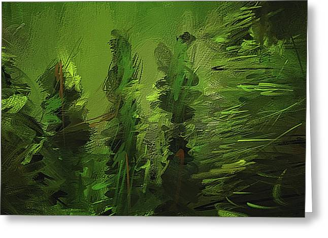 Evergreens - Green Abstract Art Greeting Card by Lourry Legarde