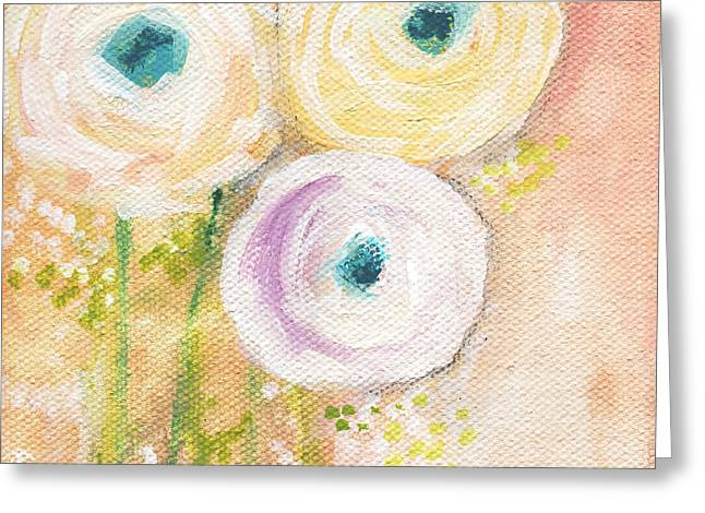 Romantic Floral Greeting Cards - Everlasting- Expressionist Floral Painting Greeting Card by Linda Woods