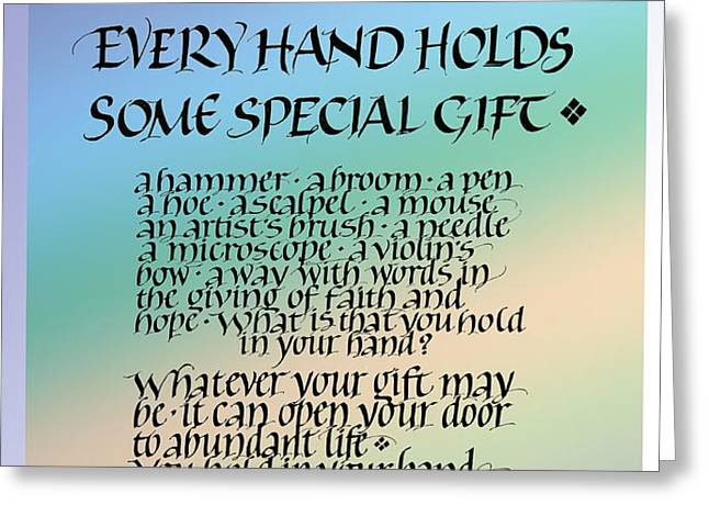 Every Hand Greeting Card by Judy Dodds