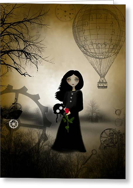 Goth Girl Greeting Cards - Every Rose Has Its Thorn Greeting Card by Charlene Zatloukal