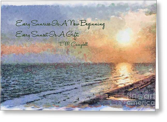 Sunset Greeting Cards Greeting Cards - Every Sunrise Is A New Beginning Greeting Card by Theresa Campbell