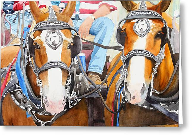 July 4th Paintings Greeting Cards - Everybody Loves A Parade Greeting Card by Ally Benbrook