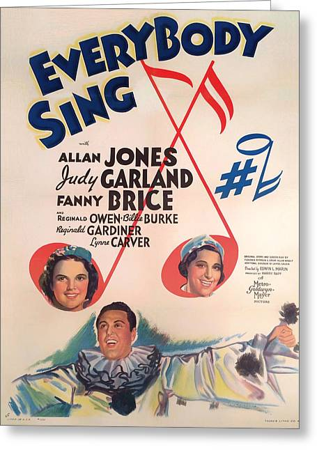1938 Movies Greeting Cards - Everybody Sing 1938 Greeting Card by Mountain Dreams
