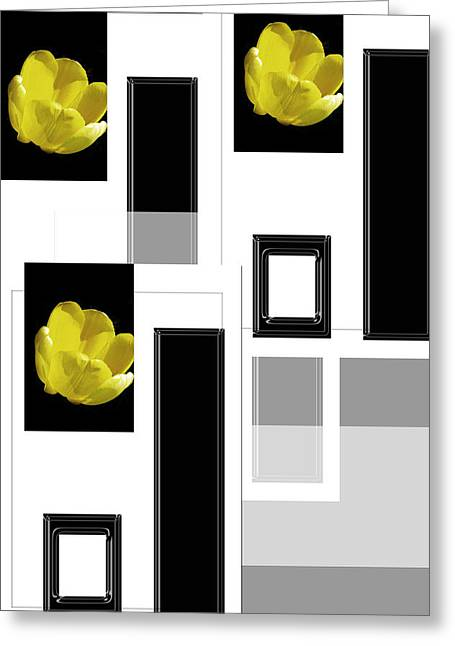 Abstract Geometric Greeting Cards - Everything Yellow White Black Greeting Card by Tina M Wenger