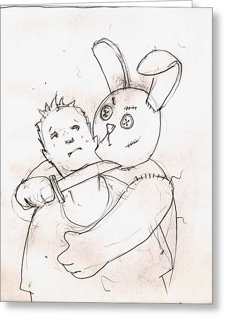 Stuffed Toy Greeting Cards - Evil Bunny Greeting Card by H James Hoff