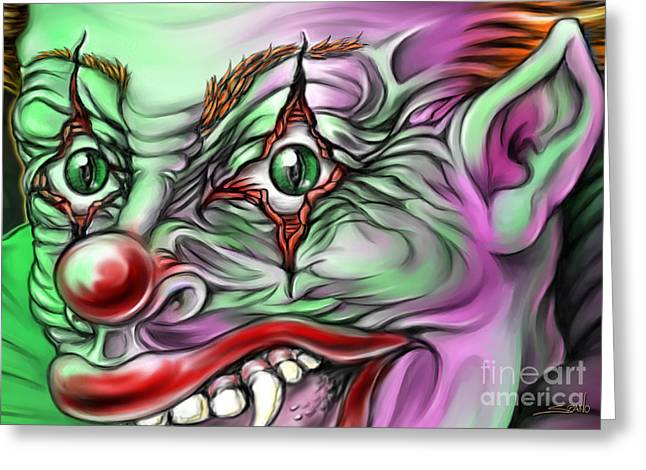 Evil Clown Eyes Greeting Card by Michael Spano