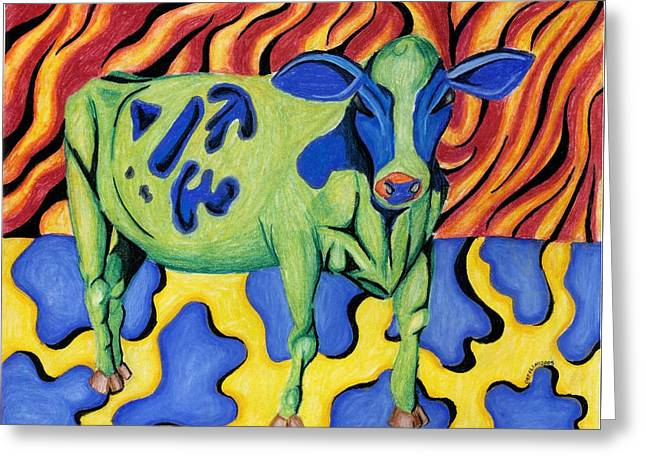 Dot Pastels Greeting Cards - Evil Cow Greeting Card by Catilin Ott