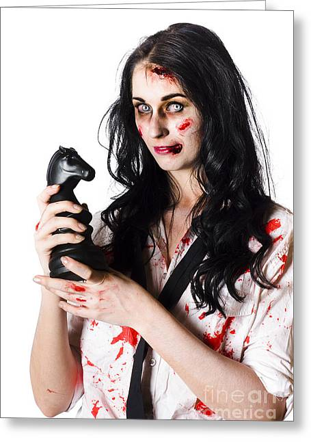 Evil Dead Business Zombie With Chess Playing Piece Greeting Card by Jorgo Photography - Wall Art Gallery