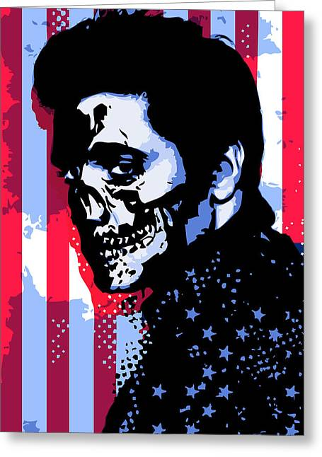 Expressionism Digital Art Greeting Cards - Evil Elvis Greeting Card by Tom Deacon