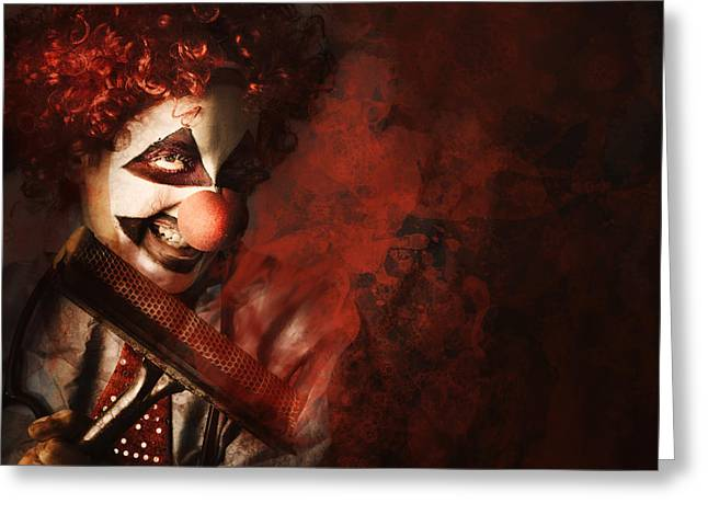 Scary Clown Greeting Cards - Evil monster clown washing splattered glass Greeting Card by Ryan Jorgensen