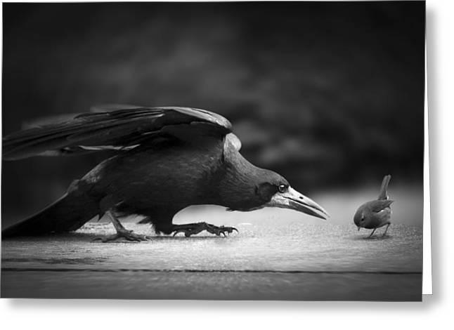 Ravens Greeting Cards - Evil Greeting Card by Richard Bires