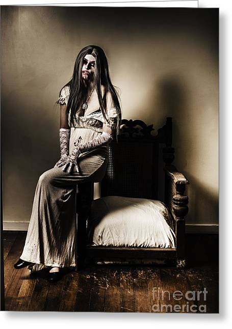 Spooky House Greeting Cards - Evil vampire woman in old grunge haunted house Greeting Card by Ryan Jorgensen