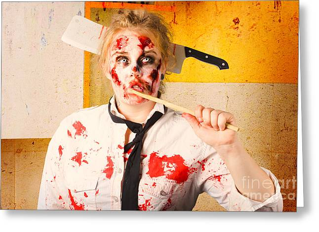 Evil Zombie Chef Thinking Up Unhealthy Food Idea Greeting Card by Jorgo Photography - Wall Art Gallery