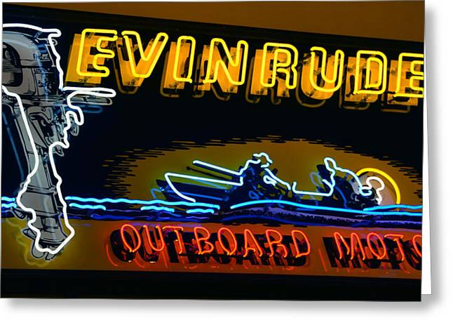 Recently Sold -  - Fishing Boats Greeting Cards - Evinrude neon sign Greeting Card by David Lee Thompson