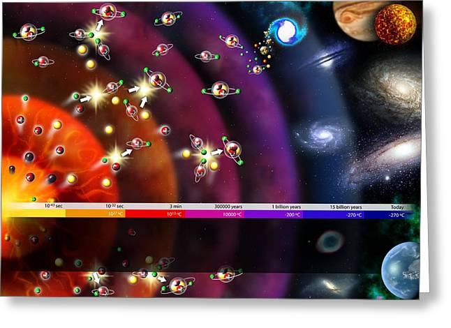 Timeline Greeting Cards - Evolution Of The Universe, Artwork Greeting Card by Jose Antonio PeÑas