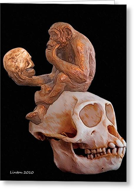 Chimpanzee Digital Greeting Cards - Evolutionary Contemplation Greeting Card by Larry Linton