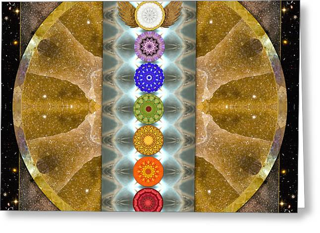 Crystal Healing Greeting Cards - Evolving Light Greeting Card by Bell And Todd