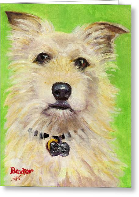 Dogs Paintings Greeting Cards - Example of Pet Portrait Greeting Card by Sheila Kinsey