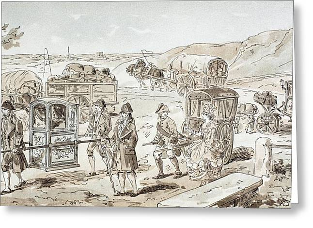 Wagon Wheels Drawings Greeting Cards - Examples Of 18th Century Means Of Greeting Card by Ken Welsh