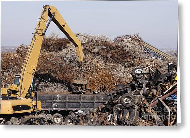 Excavator Moving Scrap Metal With Electro Magnet Greeting Card by Jeremy Woodhouse