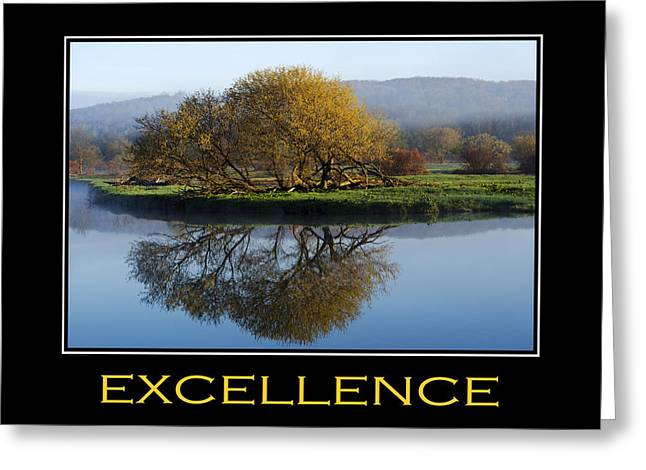 Motivational Poster Greeting Cards - Excellence Inspirational Motivational Poster Art Greeting Card by Christina Rollo