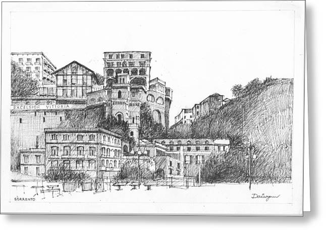 Naples Drawings Greeting Cards - Excelsior Vittoria Sorrento Greeting Card by Dai Wynn