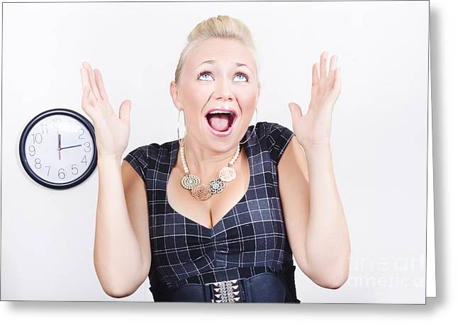 Workday Greeting Cards - Excited business woman meeting time schedule  Greeting Card by Ryan Jorgensen