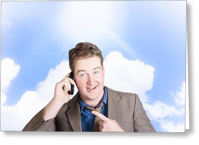 Excited Man On Mobile Phone. Yes Got The Job Greeting Card by Jorgo Photography - Wall Art Gallery