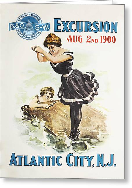 Atlantic Beaches Drawings Greeting Cards - Excursion to Atlantic City New Jersey Greeting Card by Bern Hill