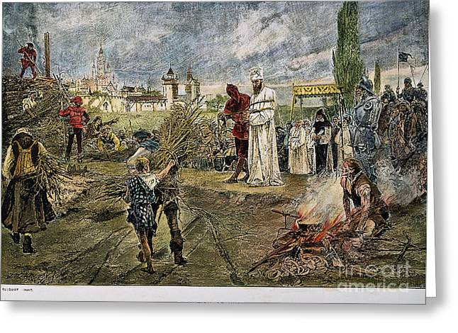 Martyr Greeting Cards - Execution Of Jan Hus, 1415 Greeting Card by Granger