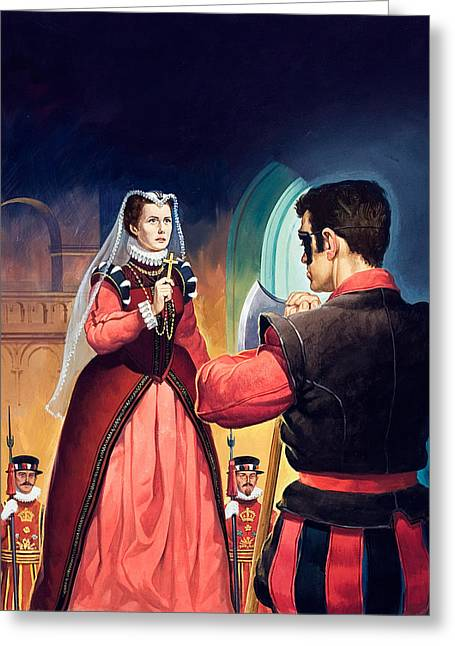Executioner Greeting Cards - Execution of Mary Queen of Scots Greeting Card by English School