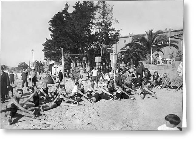 Exercises On The Beach Greeting Card by Underwood Archives