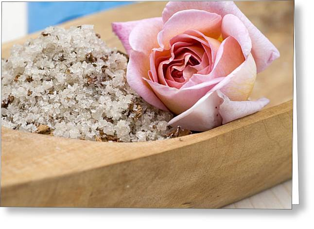 Exfoliating body scrub from sea salt and rose petals Greeting Card by Frank Tschakert