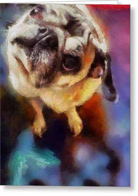 Small Dog Pastels Greeting Cards - Existential Zues pug painting by Artist MendyZ quizzical confused dog looking with big eyes Greeting Card by MendyZ