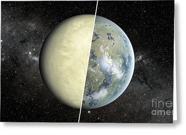 21st Greeting Cards - Exoplanet Habitable Zone, Dry Vs. Wet Greeting Card by Science Source