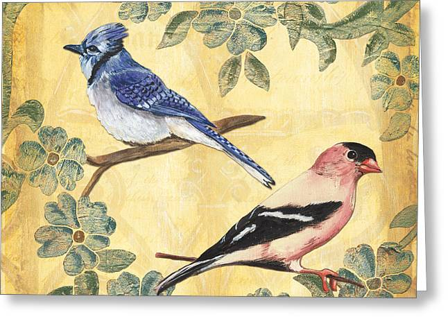 Blue Greeting Cards - Exotic Bird Floral and Vine 1 Greeting Card by Debbie DeWitt