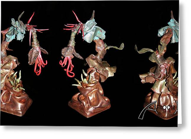 Sculpture. Ceramics Greeting Cards - Exotic Fantasy Greeting Card by Afrodita Ellerman