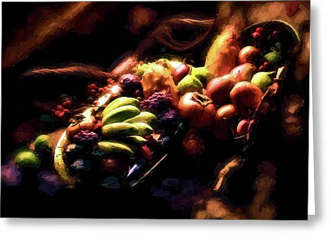 Exotic Fruit Platter Greeting Card by Peter Hogg