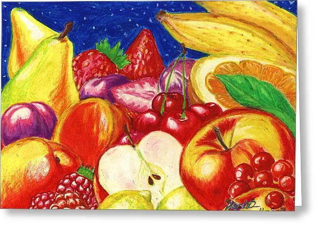 Banana Pastels Greeting Cards - Exotic Fruts  Greeting Card by Alban Dizdari