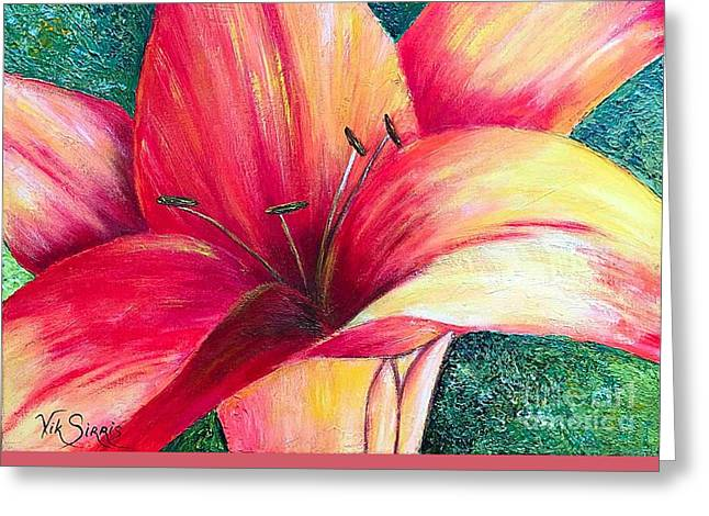 Pallet Knife Greeting Cards - Exotic Lily Greeting Card by Viktoriya Sirris