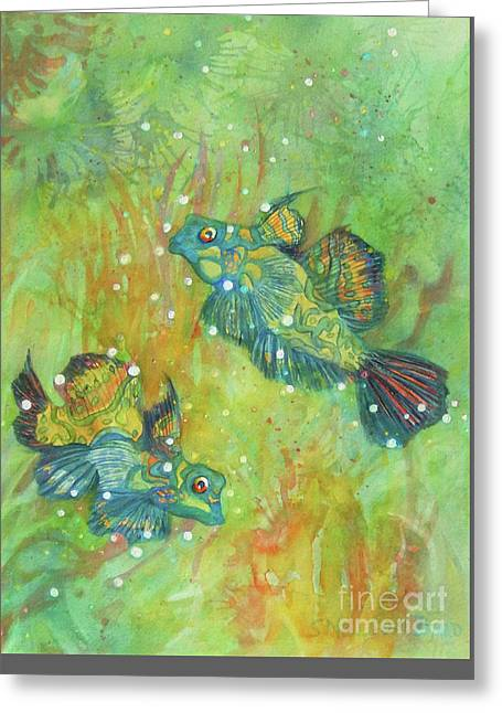 Water Fowl Greeting Cards - Exotic Mandarin Fish Greeting Card by Sharon Nelson-Bianco