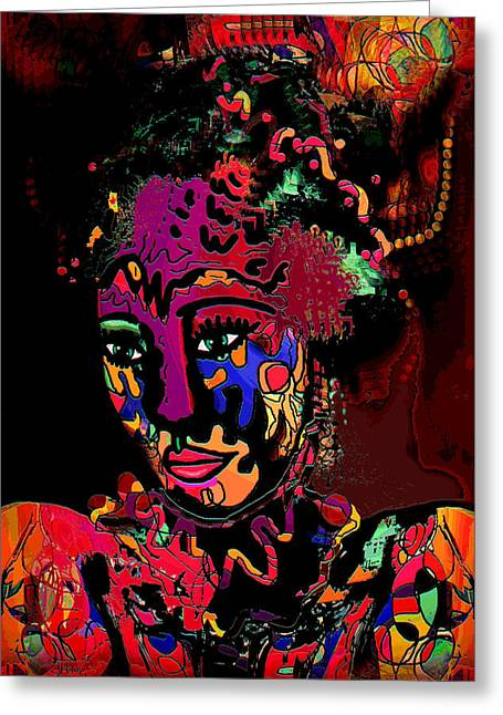 Face Tattoo Mixed Media Greeting Cards - Exotic Princess Greeting Card by Natalie Holland